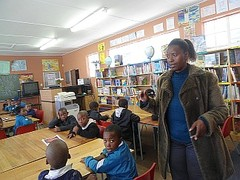 Zola Mdepha explaining to learners the instructions of the third activity